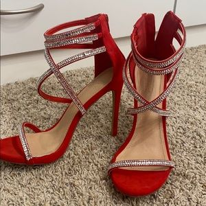 Red high heels with rhinestone straps
